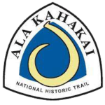 The Ala Kahakai NHT's triangular-shaped sign featured a yellow hook against a blue background