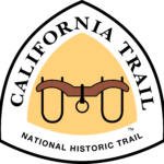 The California NHT Triangular trail sign features a brown yolk used to secure oxen to a wooden cart against a yellow background