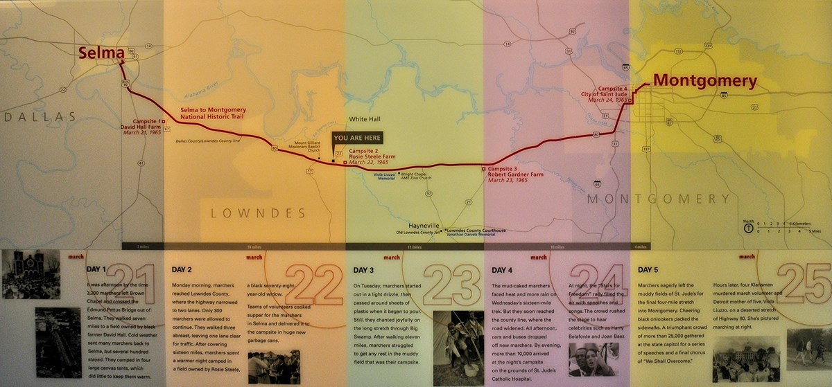 Map of the Selma to Montgomery Trail from the National Park Service.