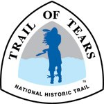 Triangle Trail of Tears sign logo featuring the silhouette of a Native American in blue