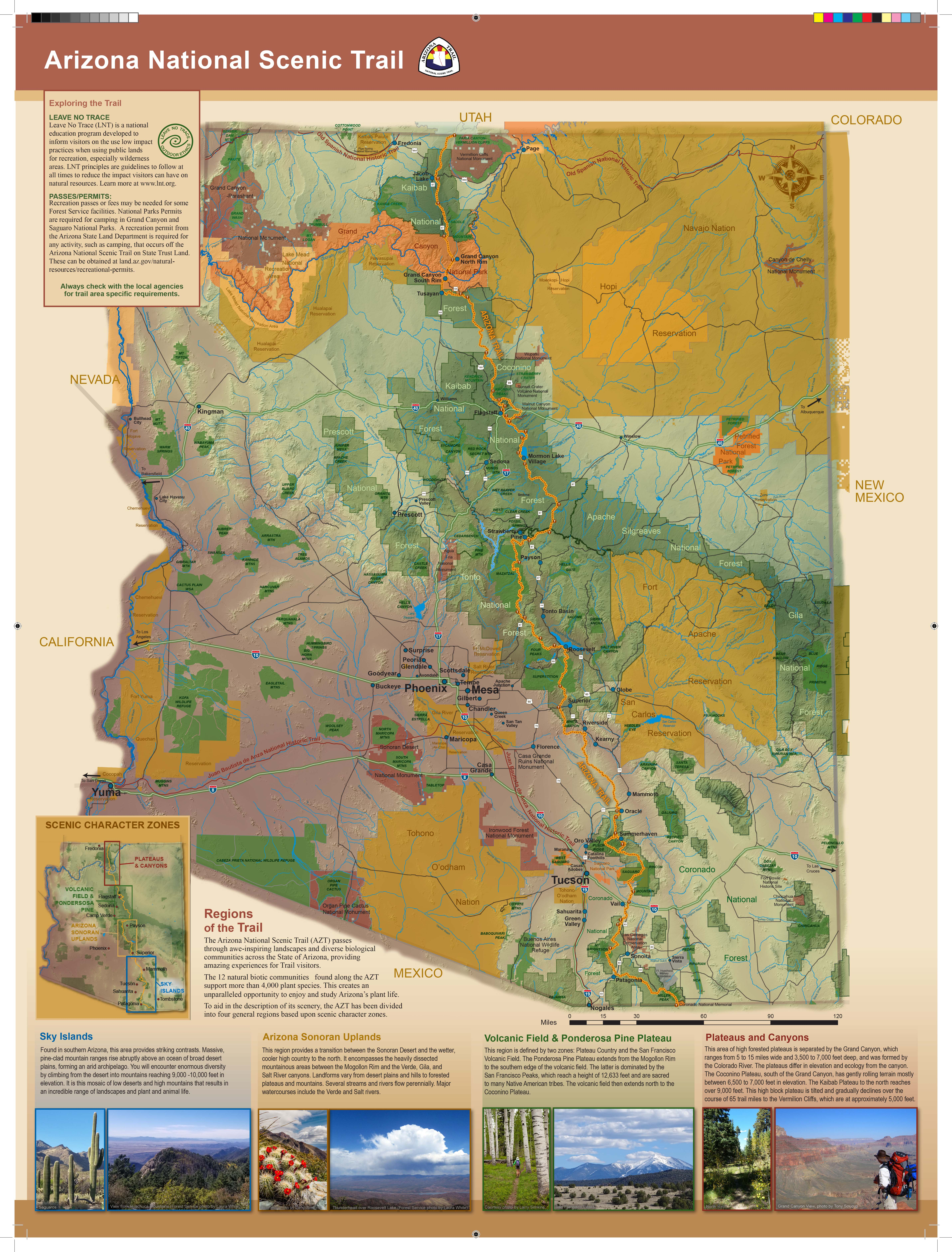 Map of the Arizona National Scenic Trail from USDAFS Trail brochure