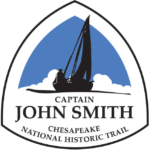 The Captain John Smith Chesapeake NHT logo features the silhouette of a sailing ship in black against a blue background
