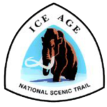 Ice Age National Scenic Trail sign features a brown wooly mammoth against a light blue background