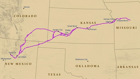 A map of the Santa Fe National Historic Trail by the National Park Service.