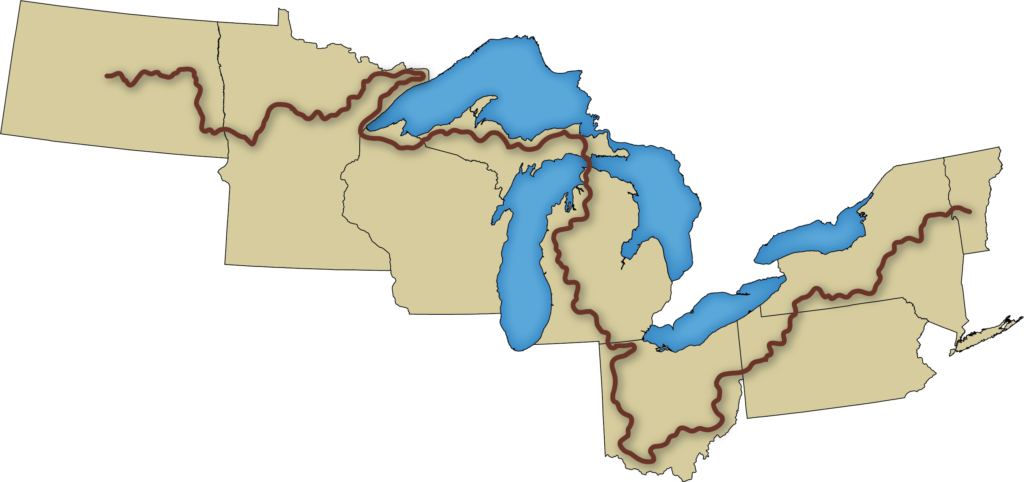 Cartoon image of the NCNST depicting the Trail's course through 8 states.