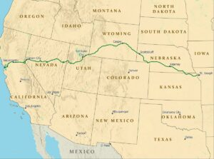 A map of the 1966-mile Pony Express National Historic Trail