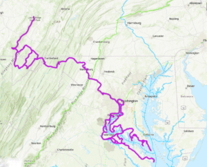 Close-up map of the PHNST featuring the trail highlighted in pink