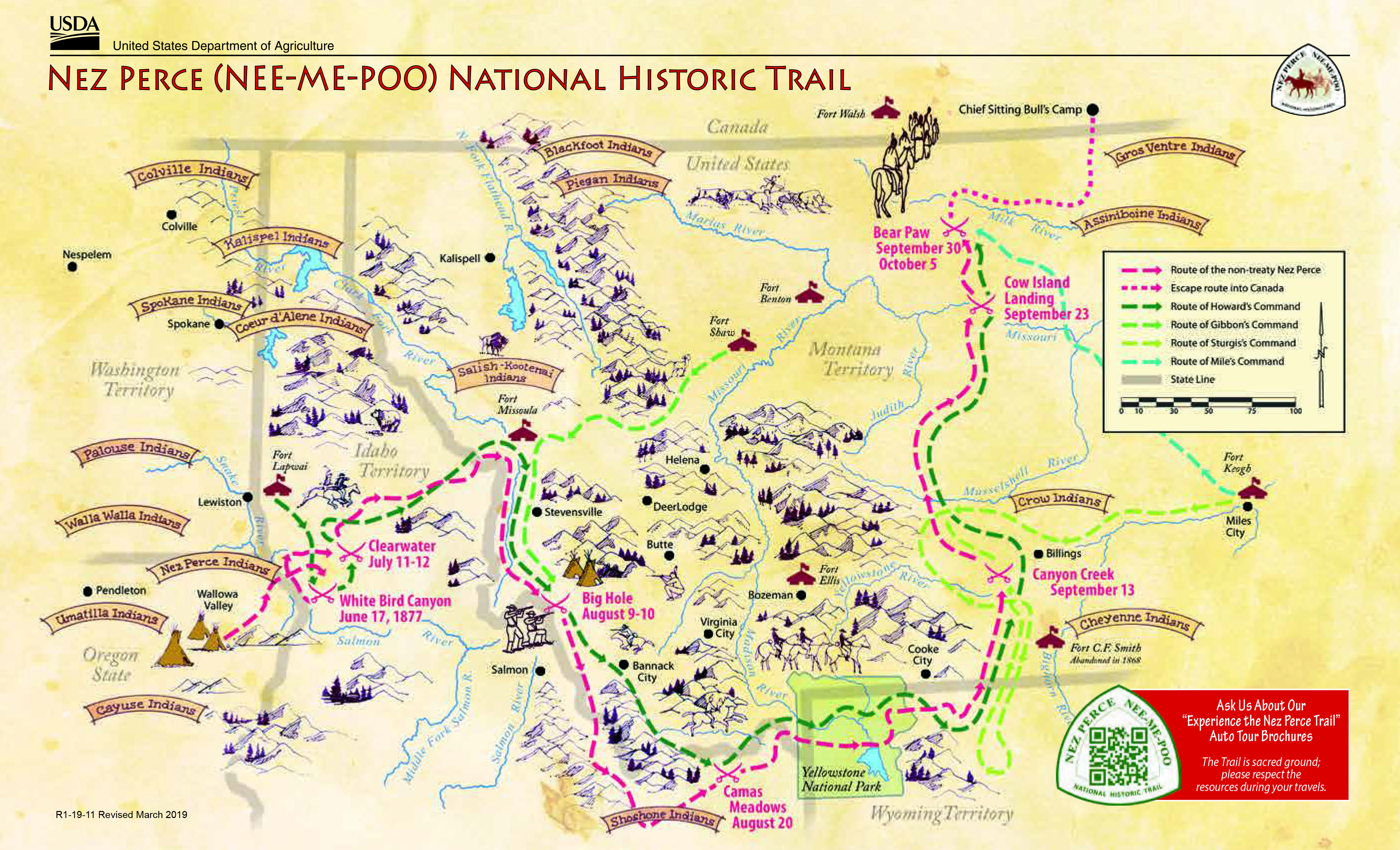 Hand-drawn-style map of the Nez Perce NHT