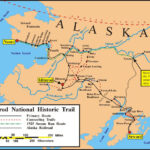 Graphical map of the Iditarod NHT across the state of Alaska