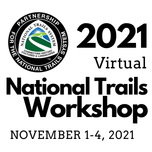 """The Partnership for the National Trails System logo with the text """"2021 Virtual National Trails Workshop November 1–4, 2021"""""""