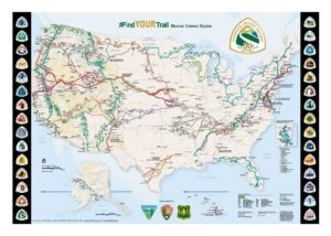 Detailed graphic pdf map of the United States with trails overlayed in color plus National Trail logos in the left and right margins