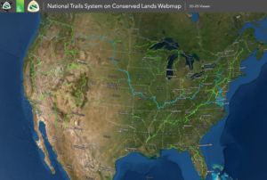 Satellite image of the United States with National Trails routes overlayed.