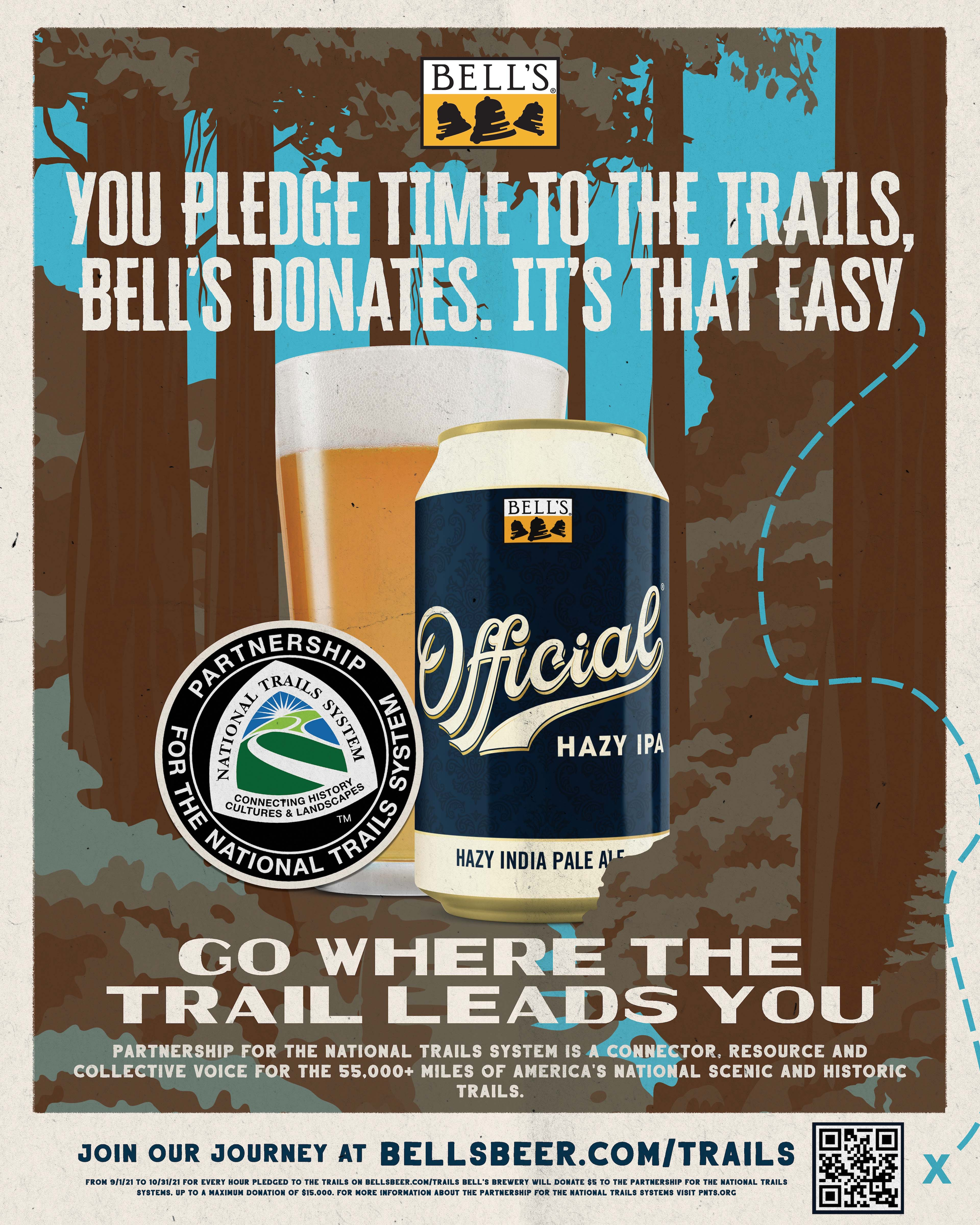 Go where the trail leads you poster featuring the PNTS logo and Bell's Official IPA