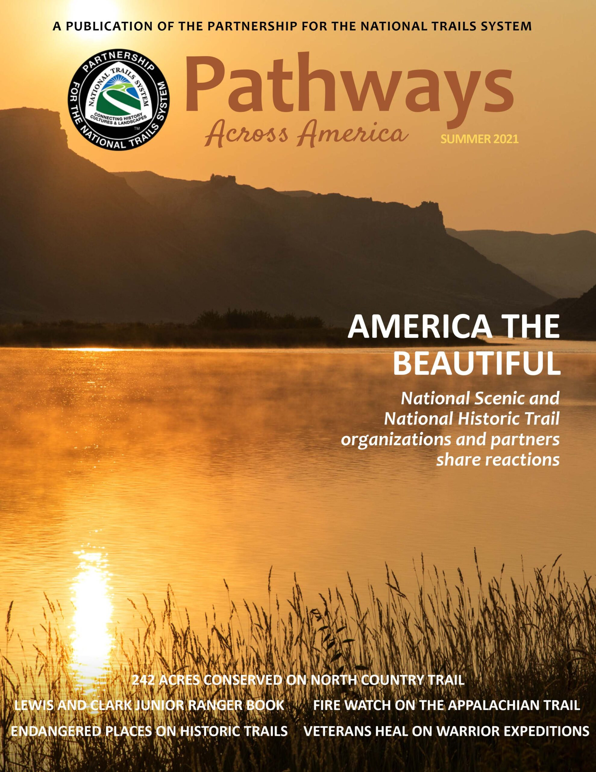 Summer 2021 Pathways cover features an image of the Missouri River at twilight as the river is bathed in orange light and the mountains in the background appear as silhouettes
